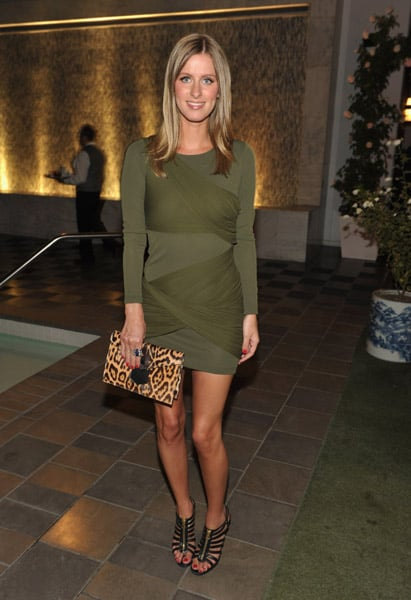 One of Fall's hottest combos is olive and leopard, and Nicky Hilton is on top of it.
