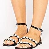 ASOS FRASER Leather Pearl Flat Sandals