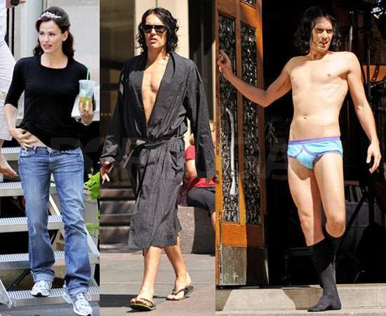 Pictures of Russell Brand and Jennifer Garner Filming Arthur