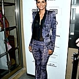 Halle Berry paired a purple printed Roberto Cavalli pantsuit with a semisheer black Monique Lhuillier blouse at the Cloud Atlas premiere.