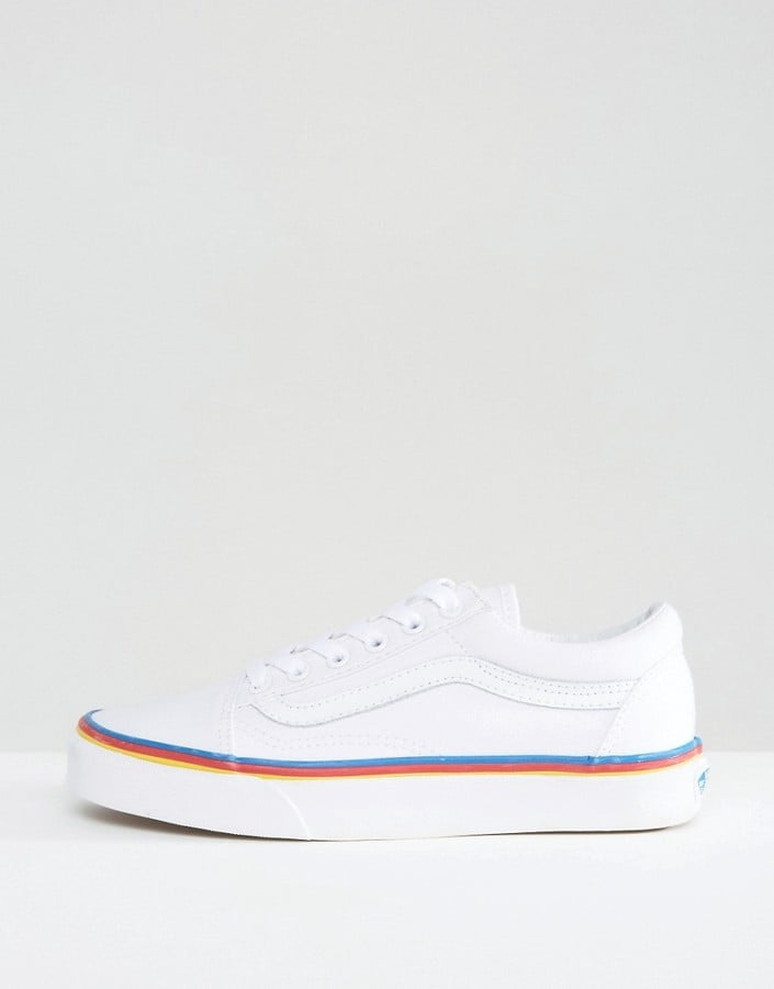 88c4d6e56fd Vans Leather Old Skool Sneakers With Rainbow Trim