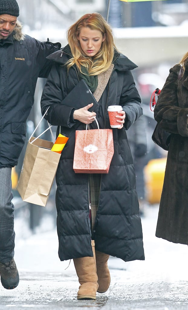 Blake Lively carried her iPad and a Christian Louboutin bag on the set of Gossip Girl in NYC this morning. She's not the only cast member braving cold temperatures as Penn Badgley is in Sundance showing off his acting skills in Margin Call. Their costar Leighton Meester, meanwhile, was treated to warmer weather in LA recently. She went west to premiere The Roommate on Sunday, when she opened up about her hopes for the small-screen romance between her Blair Waldorf and Ed Westwick's Chuck Bass. The series, one of your current favorites on the CW, made its 2011 return to TV last night, and the episode was full of  great OMG moments.