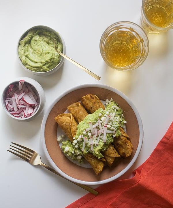 Crispy Chicken Taquitos With Avocado Crema