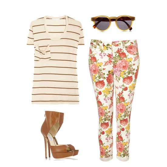 Why not throw a little print mixing into your vintage floral game? Start with a pair of pretty jeans, cuffed at the leg, and add a slouchy striped tee (you know the rules: as long as the colors match, you're good to go). Accessorize with a pair of sky-high ankle-strap heels and a sexy pair of shades. Get the look:  Kain Classic Modal T-Shirt ($90) Illesteva Leonard Round-Frame Acetate Sunglasses ($165) Topshop Moto Vintage Floral Jamie Jeans ($90) Jimmy Choo Beatrix Platform Leather Sandals ($965)