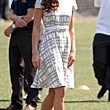 On July 26, Kate donned a Hobbs checked dress for a kickabout with a football at Bacon's College.