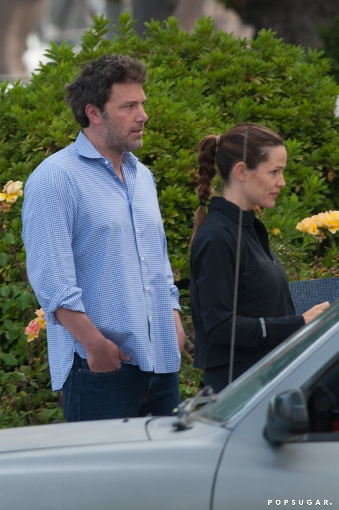 """Ben Affleck and Jennifer Garner met up in for their kids' first day of school in LA on Tuesday. The former couple was spotted on the street together after dropping off their little ones; Jennifer was clad in workout clothes, clutching notebooks and chatting on her cell phone while Ben looked into the distance. The two have been keeping a united front for the sake of their three children, Violet, Seraphina, and Samuel, though they appeared to have spent the Labor Day weekend apart. Ben took on daddy duty in LA while Jen attended the Telluride Film Festival, where she screened her new film Wakefield with Bryan Cranston on Sunday. They did, however, celebrate Ben's 44th birthday as a family at a Montana resort last month — sources told People that they """"spent the week together and enjoyed outdoor activities like hiking, biking, and swimming,"""" adding, """"Ben is happiest when he's spending time with his family.""""      Related:                                                                25 Photos of Jennifer Garner Looking Unbothered Since Her Breakup With Ben                                                                   11 Things Ben Affleck and Jennifer Garner Have Said About Each Other Since Their Split                                                                   20 Former Couples Who Prove You Can Be Friends With an Ex"""