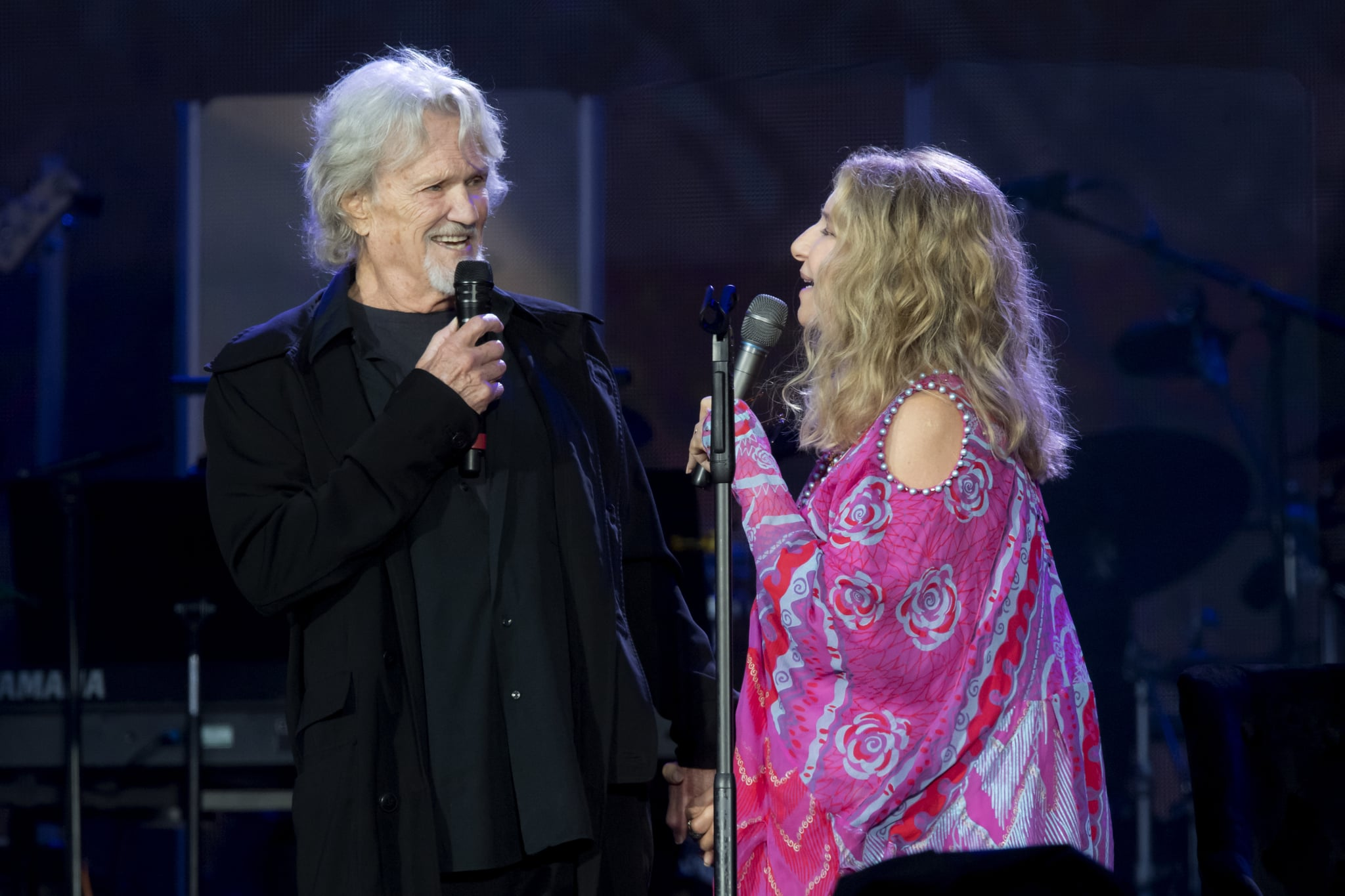 LONDON, ENGLAND - JULY 07:  Barbra Streisand performs with Kris Kristofferson during Barclaycard Presents British Summer Time Hyde Park at Hyde Park on July 07, 2019 in London, England. (Photo by Dave J Hogan/Getty Images)