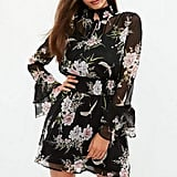 Missguided Black High Neck Floral Chiffon Skater Dress