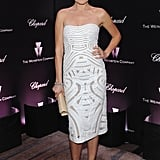 Malin Akerman looked sweet and sleek in a white strapless dress and burgundy ankle-strap platforms.