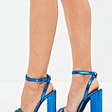 Alternative: Missguided Blue Metallic Square Block Heeled Sandal