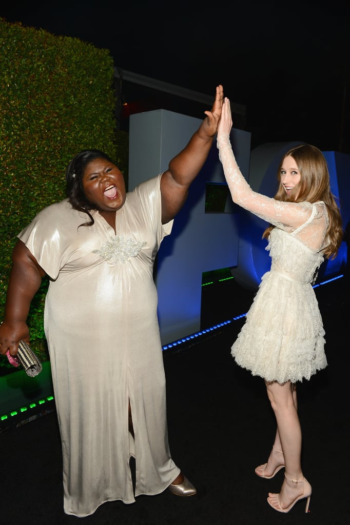Gabourey Sidibe and Taissa Farmiga high-fived outside Fox and FX's party.