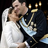 Prince Felipe and Letizia Ortiz   The Bride: ‪Letizia Ortiz, former divorced journalist. ‬ The Groom: Felipe, Prince of Asturias, the heir apparent to the Spanish throne. When: May 22, 2004. No one suspected the serious relationship until they announced the engagement on Nov. 1, 2003. Where: Madrid's ‪Almudena Cathedral‬.