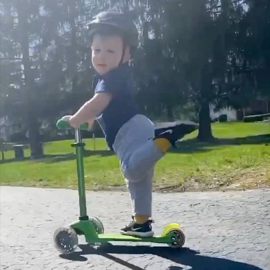 Viral Video of Little Boy Scootering With His Leg Up