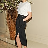 Leelee Sobieski was the epitome of chic in an understated but fashion-conscious play on black and white — finished with a red lip. Source: Neil Rasmus/BFAnyc.com