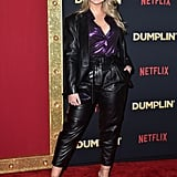 At the premiere of Dumplin', Iskra sported a vegan leather suit by ASOS with a House of CB metallic blouse.