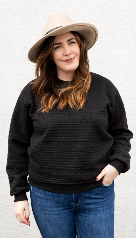 Copious Fashions Black Cable Knit Sweater