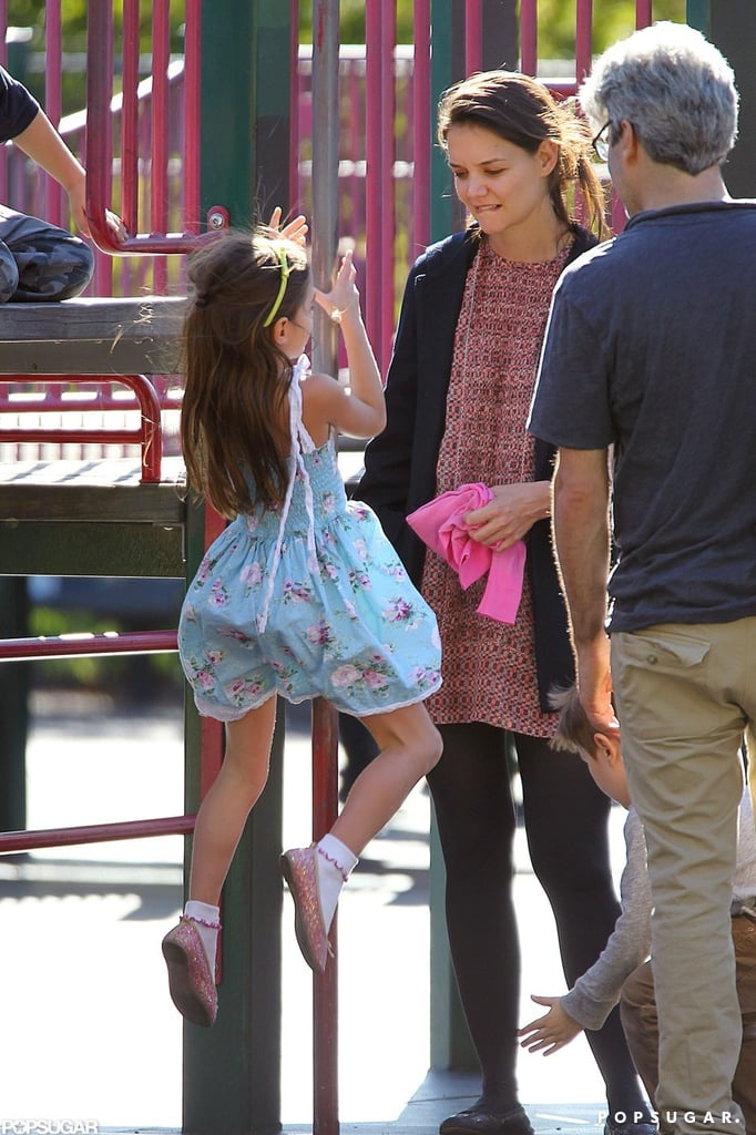 Katie Holmes took Suri to a playground in Brooklyn.