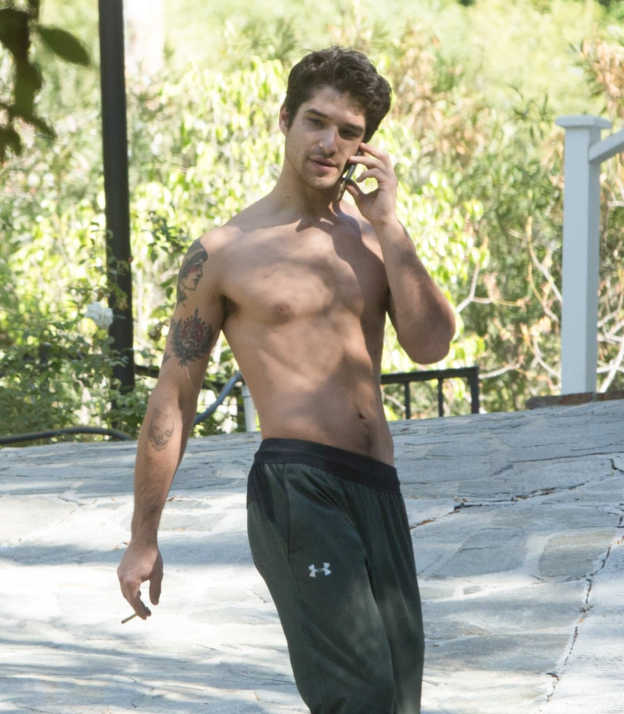 """Tyler Posey was spotted outside of his LA home on Tuesday afternoon. Sporting nothing but a pair of sweatpants and sneakers, the Teen Wolf actor showed off his tattooed arms and impressive physique as he talked on the phone. While his girlfriend Bella Thorne wasn't with him this time around, the two have certainly been making waves lately for their new blossoming romance. Just last week, Bella posted a steamy Instagram snap of her and Tyler making out on Halloween, and captioned it, """"My moon and my star #mine #halloween."""" Tyler and Bella are just one of the many new celebrity romances of the year — so far!       Related:                                                                                                           32 Teen Wolf Cast Snaps That Will Give You Serious Pack Envy"""