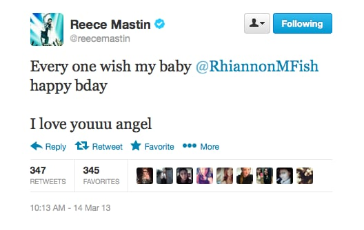 "Reece Mastin made sure his girlfriend Rhiannon Fish got some birthday love from his ""lil rockers""."