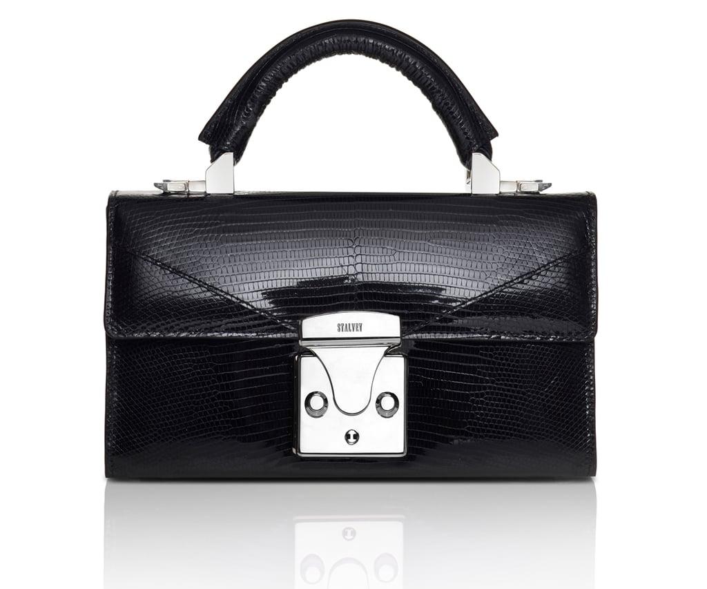 Stalvey Top Handle Mini Handbag in Black Lizard