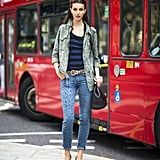 Ruby Aldridge mixed up her leopard-print jeans with a camo jacket for a cool-girl effect.  Source: Le 21ème   Adam Katz Sinding
