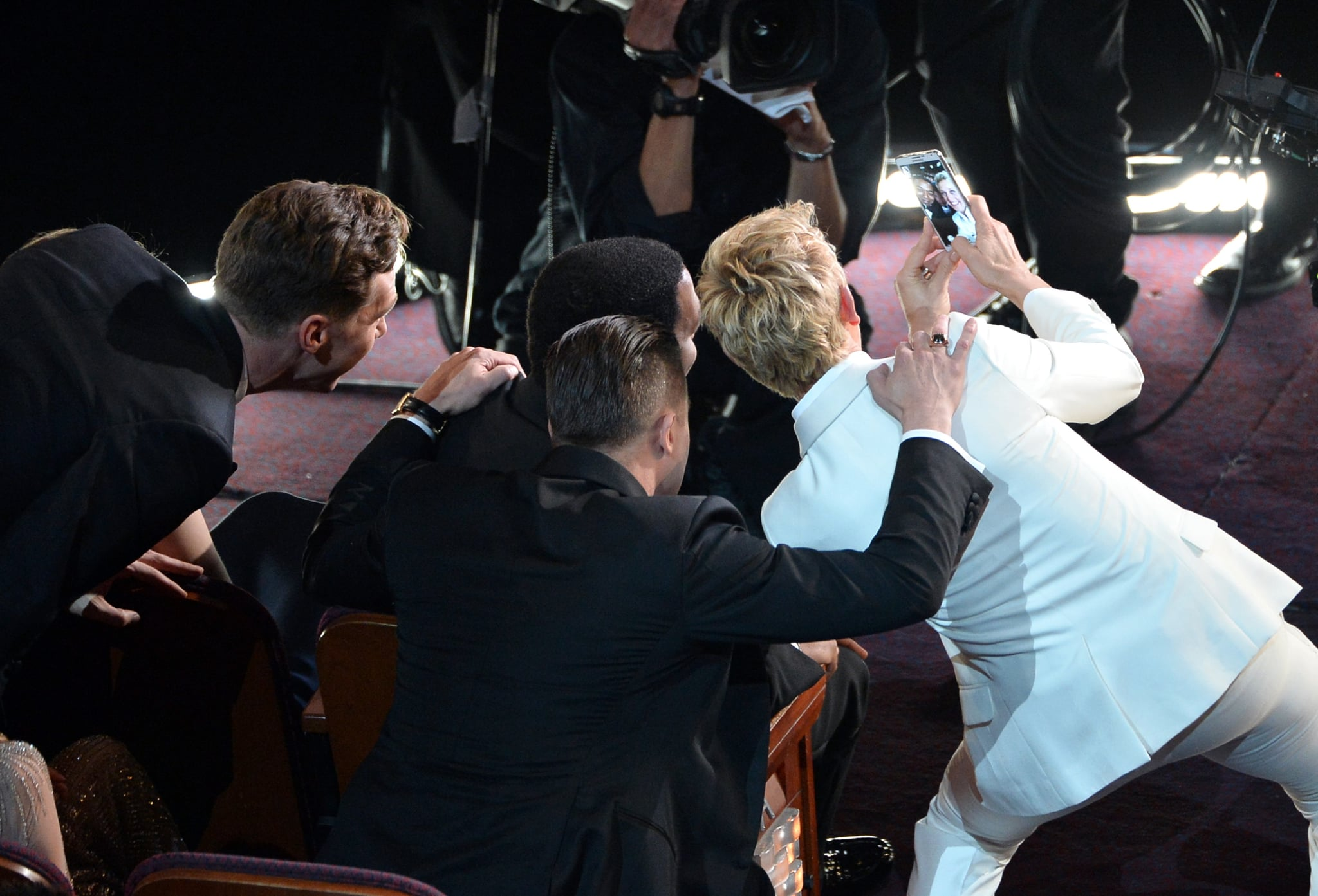 Ellen DeGeneres took a selfie with Brad Pitt and Chiwetel Ejiofor at the Oscars in March 2014.