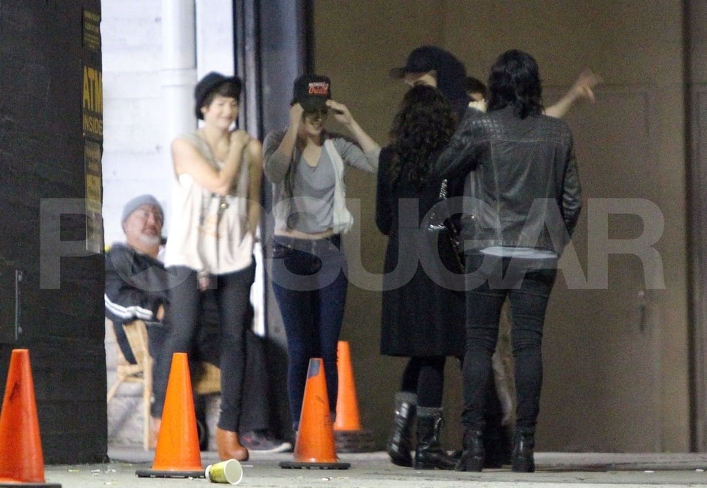 Kristen Stewart and Robert Pattinson laughed with friends at a shoot for Katy Perry in LA.