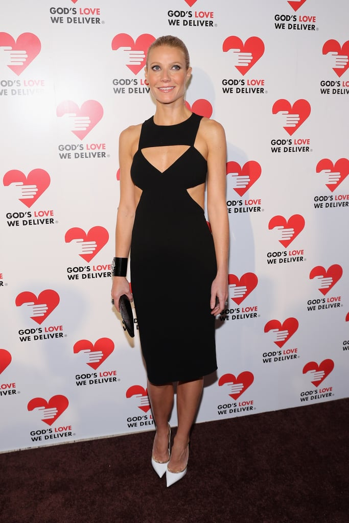 Gwyneth Paltrow showed skin in a cutout dress at the Golden Heart Gala in NYC tonight. She was among the stars on hand to support Michael Kors and Ryan Murphy, who were being honored at the charitable event. Gwyneth's been stepping out stateside lately, kicking off the month with a Big Apple birthday celebration and later attending a Tracy Anderson event. She also met up with pal Cameron Diaz to record a funny rap that aired on Chelsea Lately last week as she wrapped up her final show in her studio. Chelsea moved to a larger location and debuted her new set on tonight's episode, which featured an interview with Jennifer Aniston.