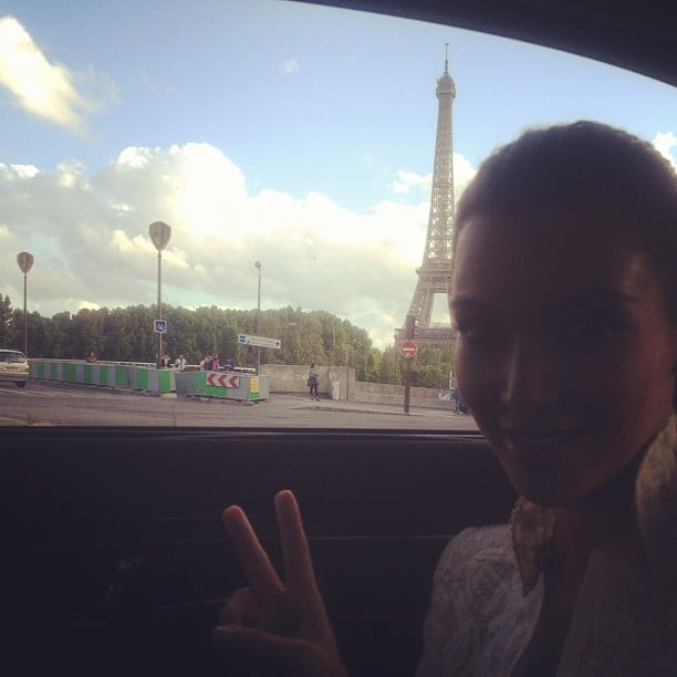 Kim Kardashian drove past the Eiffel Tower. Source: Instagram user kimkardashian