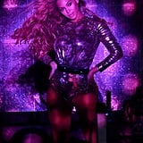 """Beyoncé struck a pose during her """"On the Run"""" concert performance in Houston on Friday."""
