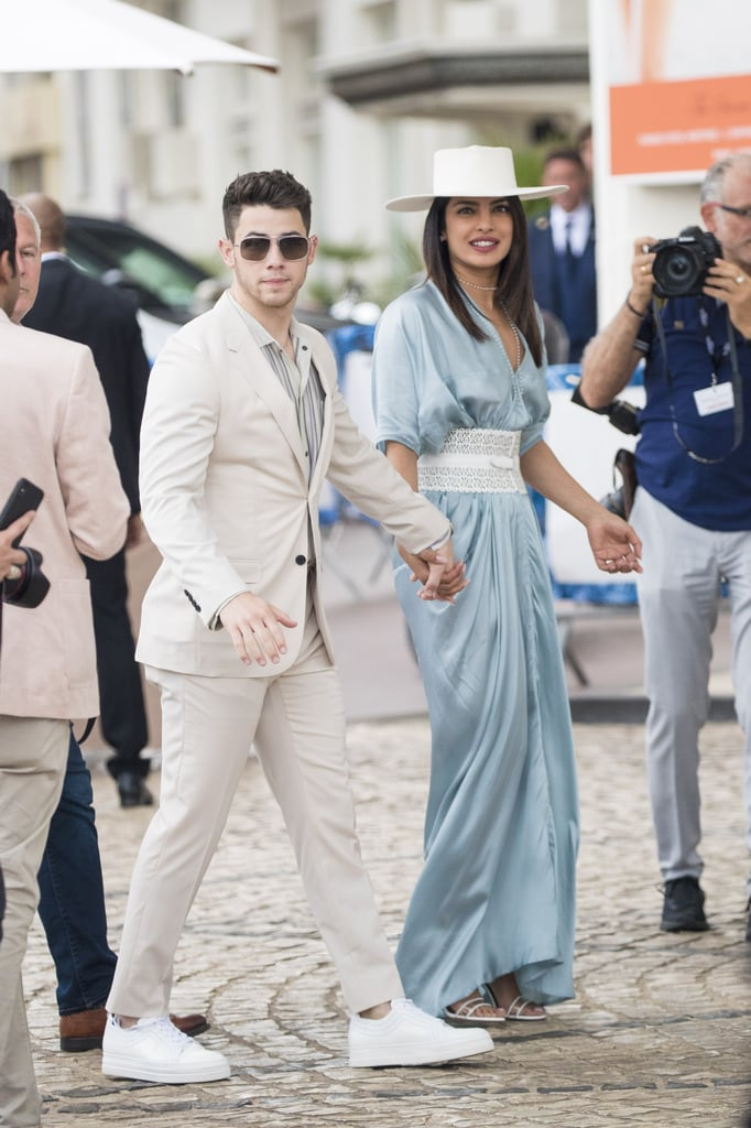 Priyanka Chopra Wearing a Blue Silk Dress and Laser Cut Belt at Cannes With Nick Jonas