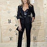 In April 2017, Jennifer wore a Louis Vuitton leather bustier and tailored pantsuit to celebrate the brand's collaboration with artist Jeff Koons.
