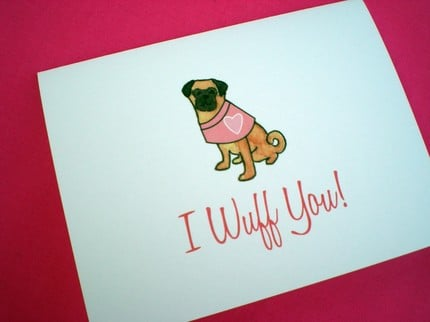 Lydia And Pugs Dress Your Pooch Valentine's Cards by Lydiaandpugs ($15 for 10)