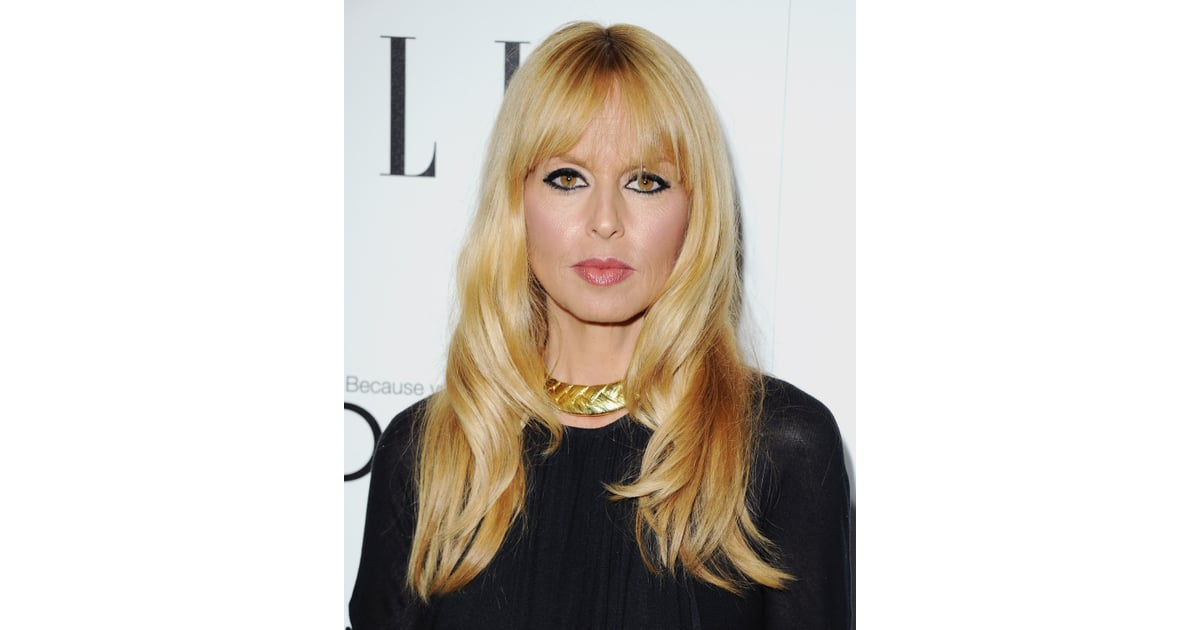 Rachel Zoe wore her signature black eyeliner and face-framing bangs ...