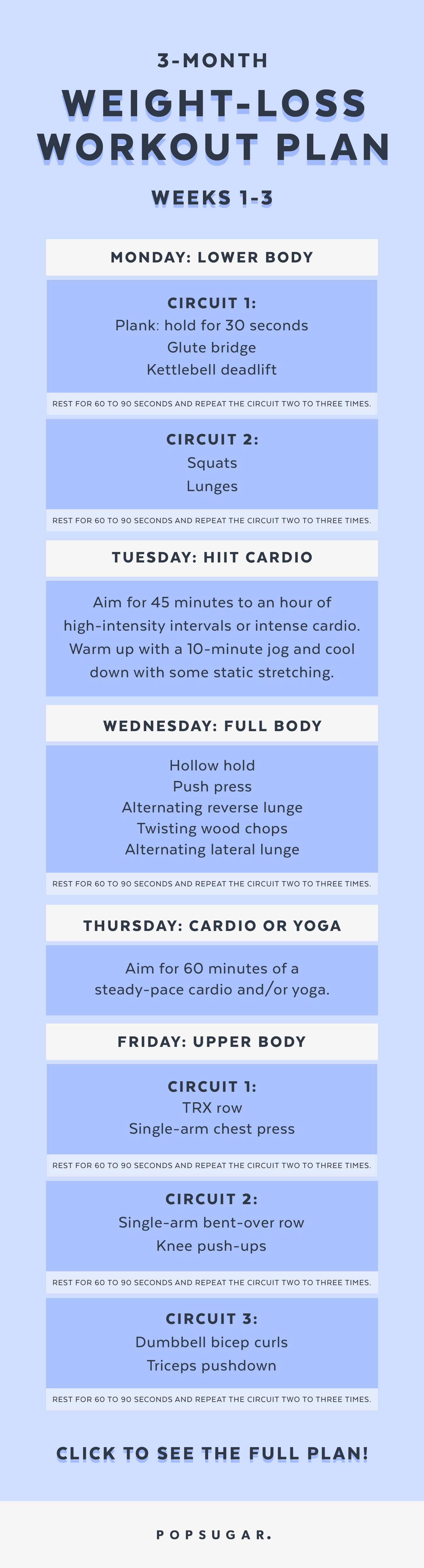 3 Month Weight Loss Workout Plan Popsugar Fitness