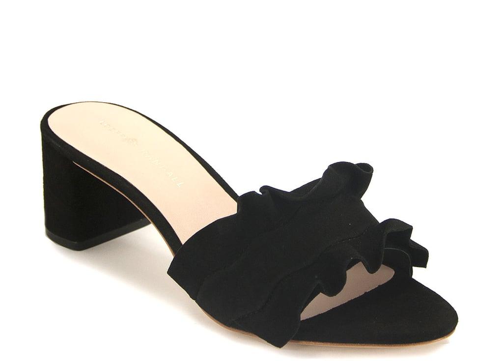 Loeffler Randall Vera Ruffled Suede Block Heel Slides u753l8IEy