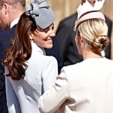 Kate Middleton and Zara Tindall at Easter Sunday Church Service in 2019