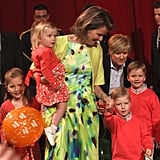 Queen Mathilde of Belgium With Princesses Elisabeth and Eléonore, and Princes Emmanuel and Gabriel