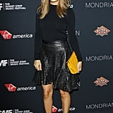 Nicole's flirty laser-cut Winter Kate skirt lent a dash of whimsy to her black-on-black West Hollywood look in August 2012.