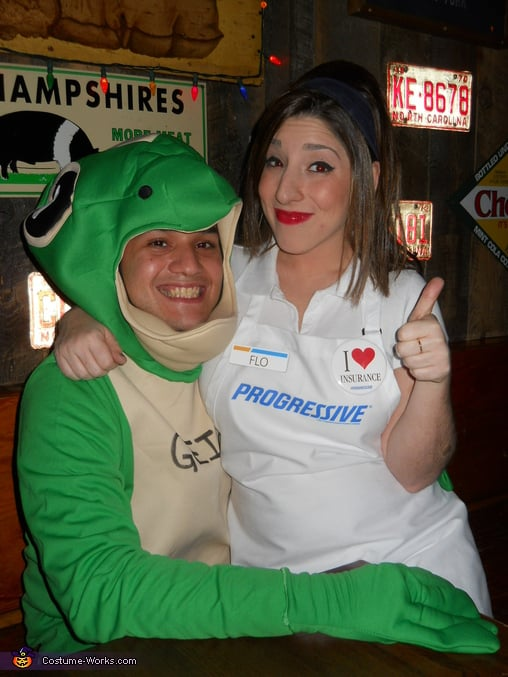 geico gecko and flo from progressive insurance halloween