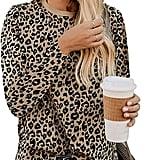 Kimiee Long-Sleeve Leopard Sweatshirt Pullover