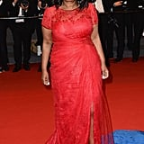 At the Fruitvale Station premiere at Cannes, Octavia Spencer made herself seen in a custom red lace gown by Tadashi Shoji and matching red strappy sandals.