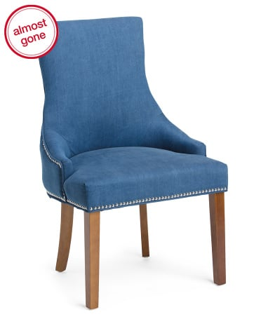 Washed denim accent chair ($130)