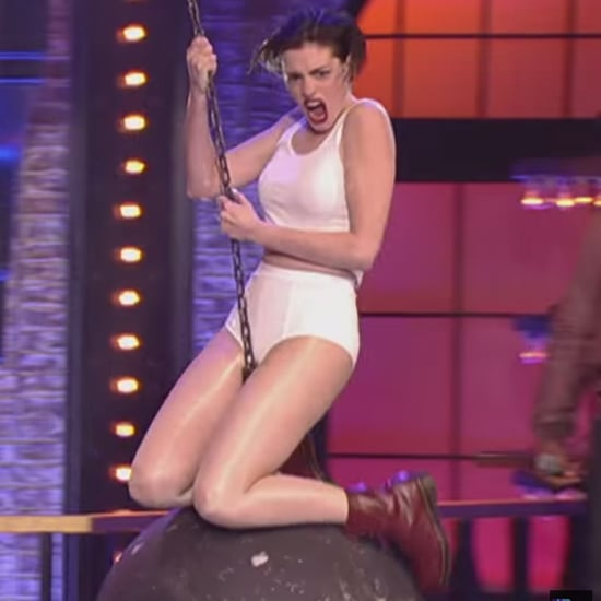 """OMG! Anne Hathaway Goes All Out For Her """"Wrecking Ball"""" Lip Sync Performance"""