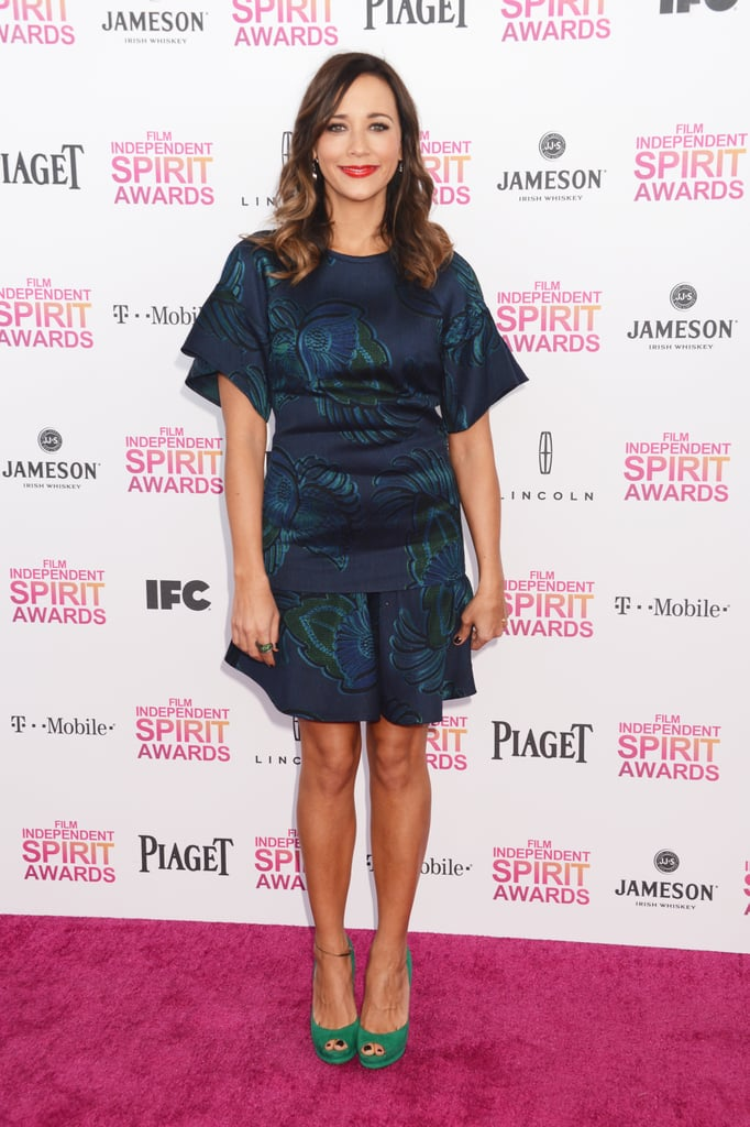 For just a pop of green, wear green shoes like Rashida Jones did with her Stella McCartney dress at the 2013 Independent Spirit Awards.