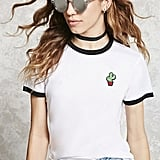 Forever 21 FOREVER 21+ Cactus Graphic Ringer Tee