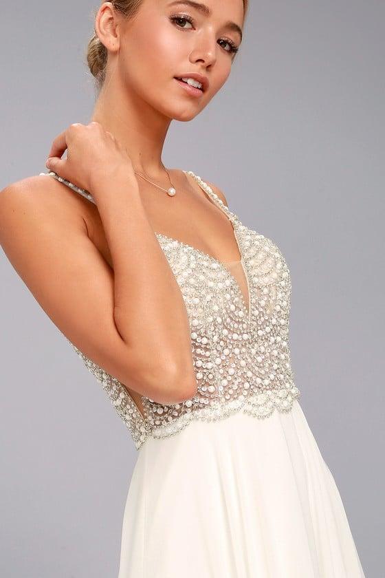 Lulu's True Love White Beaded Rhinestone Maxi Dress