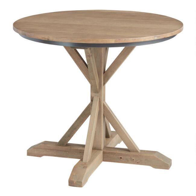Round Light-Walnut Bistro Counter-Height Dining Table