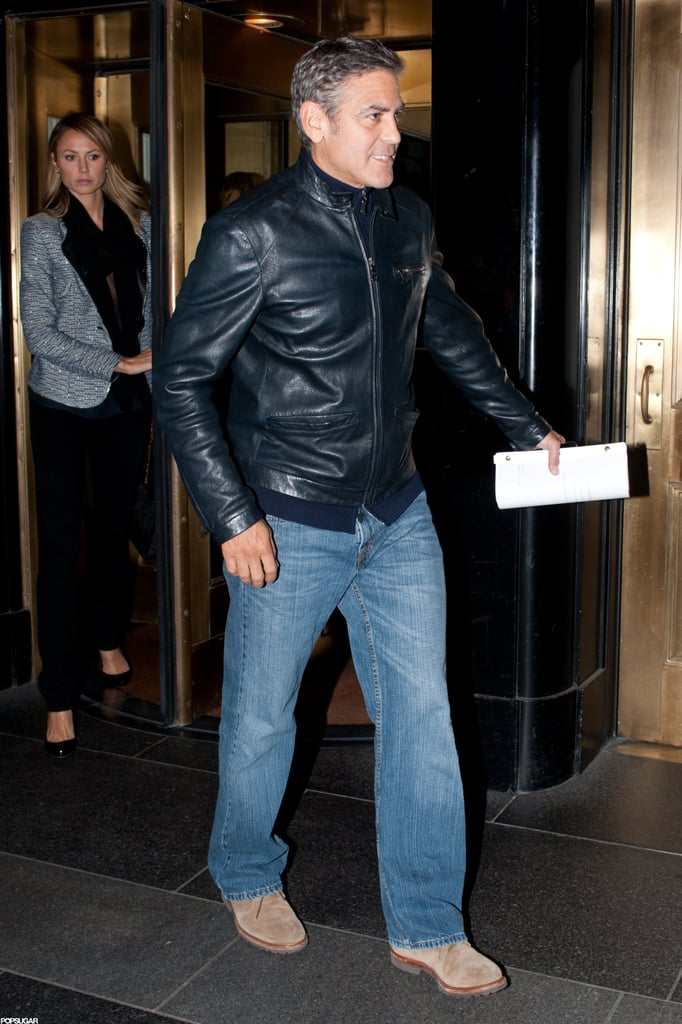 George Clooney and Stacey Keibler left their Manhattan hotel.