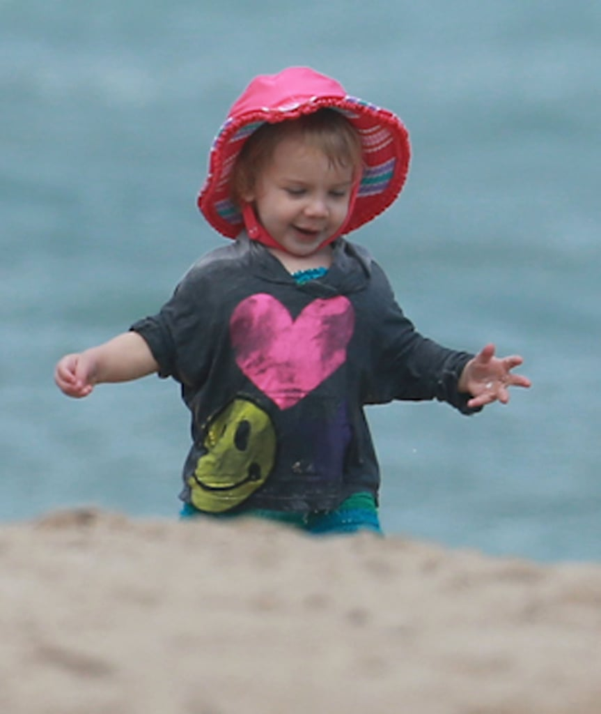 Willow played in the sand in Miami on Monday.